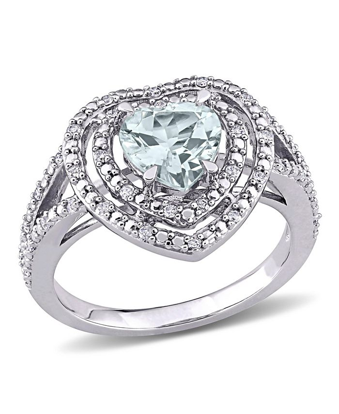 Macy's - Aquamarine (1 1/2 ct. t.w.) and Diamond (1/5 ct. t.w.) Halo Heart Ring in 10k White Gold