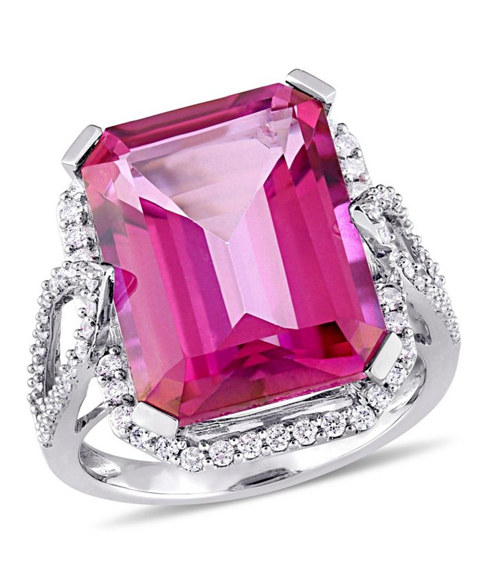 Macy's - Pink Topaz (14 1/2 ct. t.w.) and Diamond (1/2 ct. t.w.) Ring in 14k White Gold
