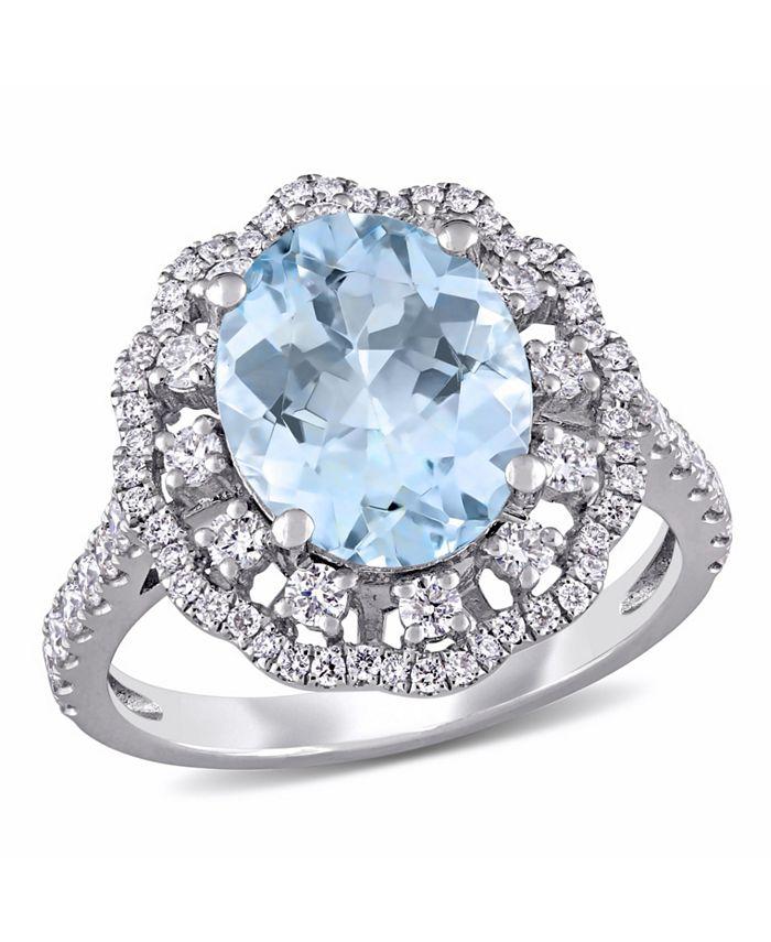 Macy's - Aquamarine (2 3/4 ct. t.w.) and Diamond (3/4 ct. t.w.) Halo Ring in 14k White Gold