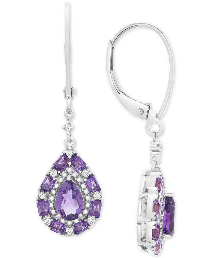 Macy's - Multi-Gemstone Teardrop Drop Earrings (1-1/2 ct. t.w.) in Sterling Silver