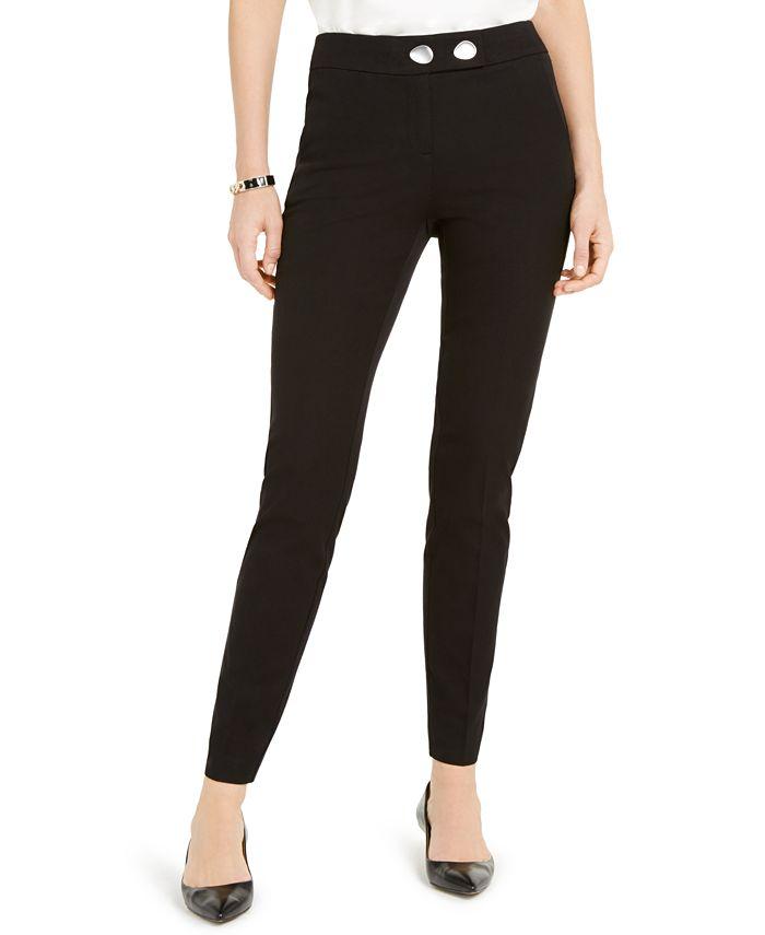 Alfani - Petite Extended-Tab Skinny Pants