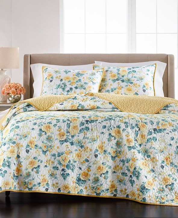 Martha Stewart Collection Garden Floral Twin/Twin XL Quilt, Created for Macy's