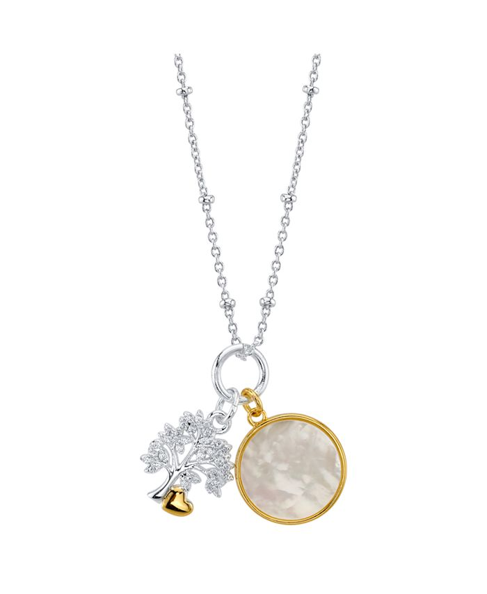 """Unwritten - Cubic Zirconia Tree And Mother Of Pearl Pendant Rose Gold Two Tone Necklace, 16""""+2"""" Extender"""