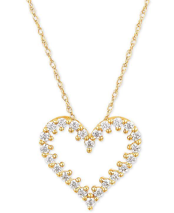 "Macy's Diamond Heart 18"" Pendant Necklace (1/4 ct. t.w.) in 10k Gold"
