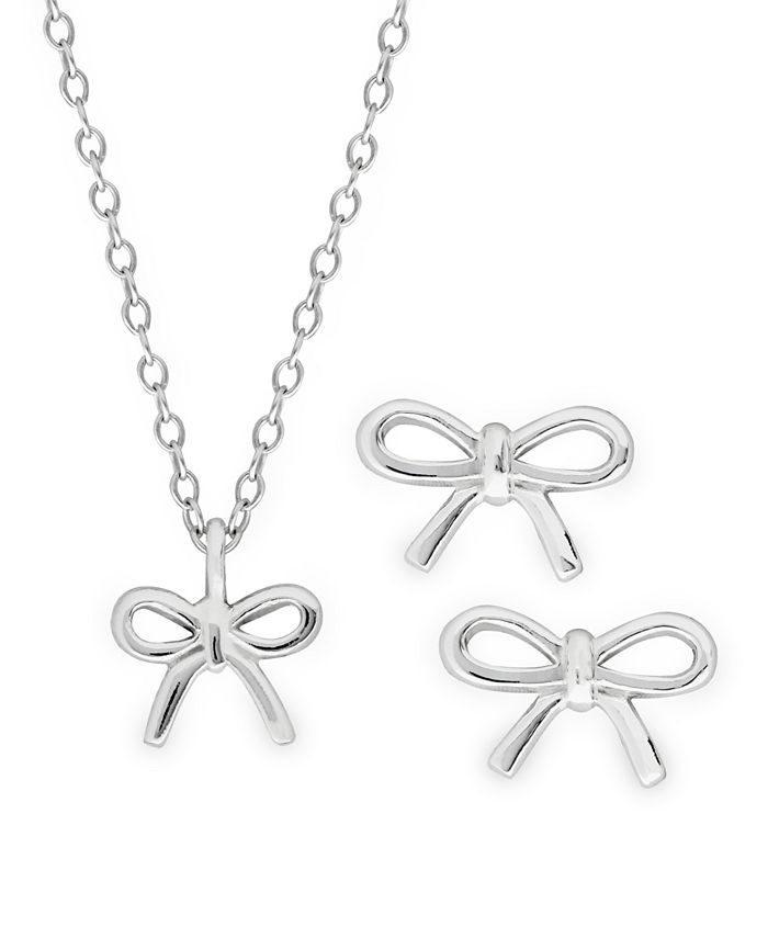 Rhona Sutton - Children's Bow Pendant Necklace and Stud Earrings Two Piece Set in Sterling Silver