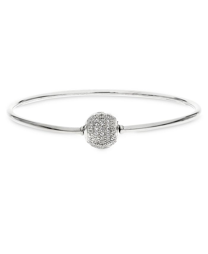 Rhona Sutton - Children's Charm Carrier Bangle with Pavé Clasp in Sterling Silver