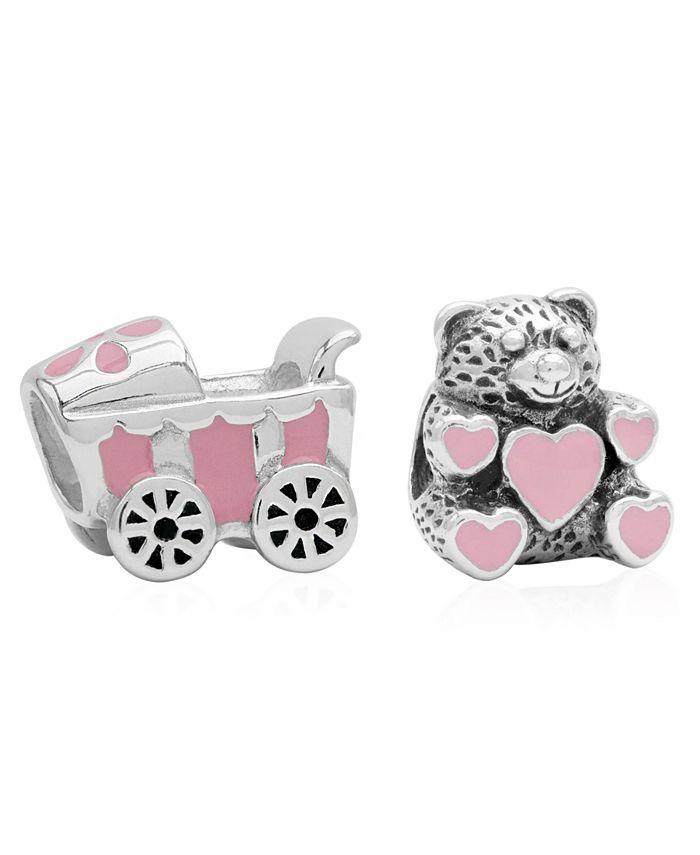 Rhona Sutton - Children's Enamel Stroller Teddy Bear Bead Charms - Set of 2 in Sterling Silver