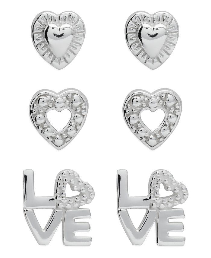 Rhona Sutton - Children's Hearts Love Stud Earrings - Set of 3 in Sterling Silver