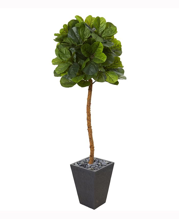 Nearly Natural - 5.5ft. Fiddle Leaf Artificial Tree in Slate Planter Real Touch