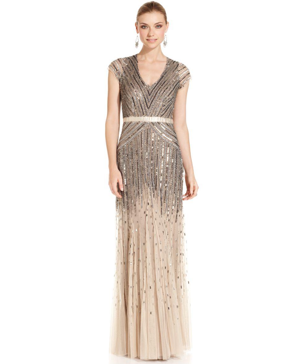 Adrianna Papell Petite Cap Sleeve Beaded Gown   Dresses   Women