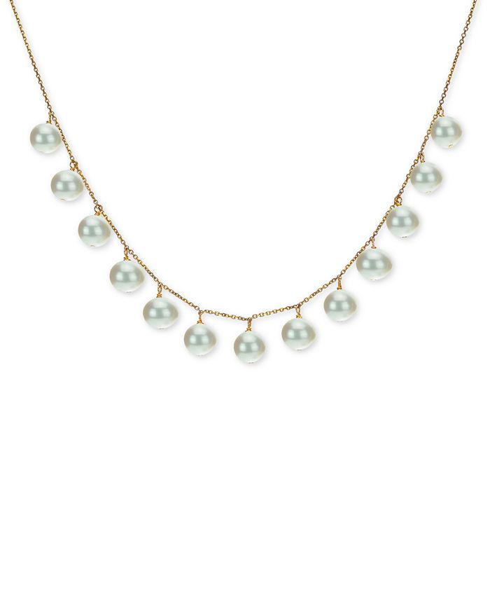 """Macy's - Cultured Freshwater Pearl (8-9mm) 18"""" Statement Necklace in 18k Gold-Plated Sterling Silver"""