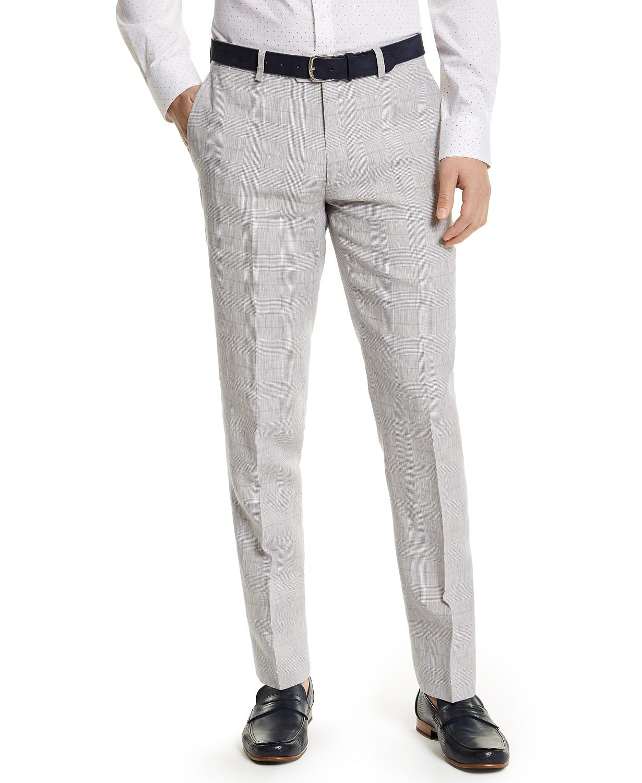Bar III Men's Slim-Fit Gray Plaid Linen Suit Separate Pants
