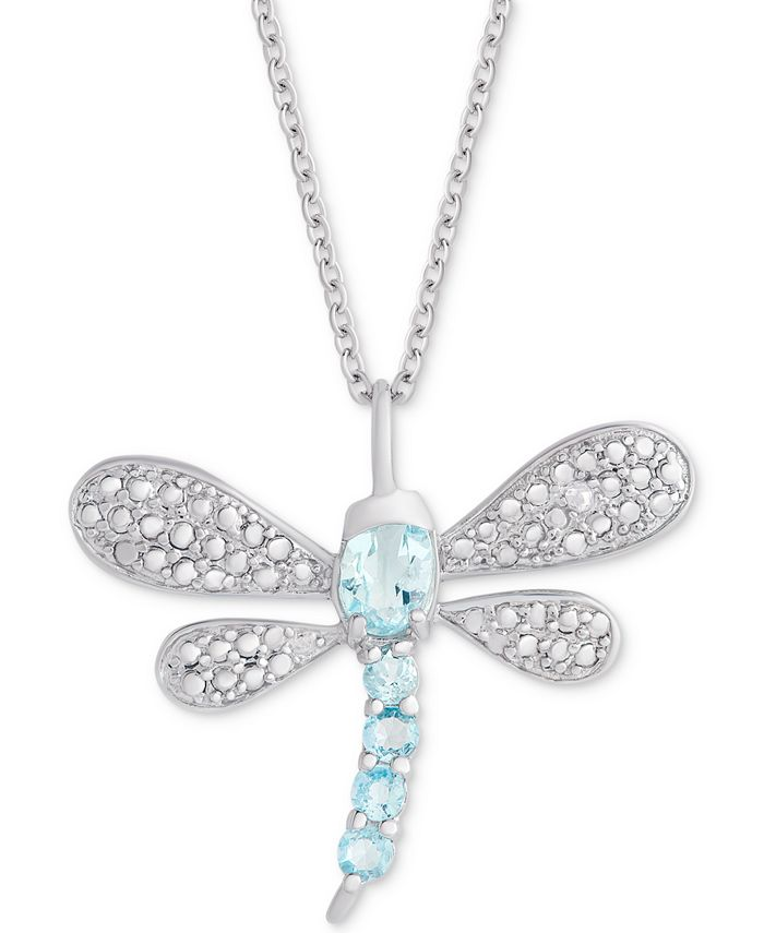 """Macy's - Blue Topaz (3/4 ct. t.w.) & Diamond Accent Dragonfly 18"""" Pendant Necklace in Sterling Silver"""