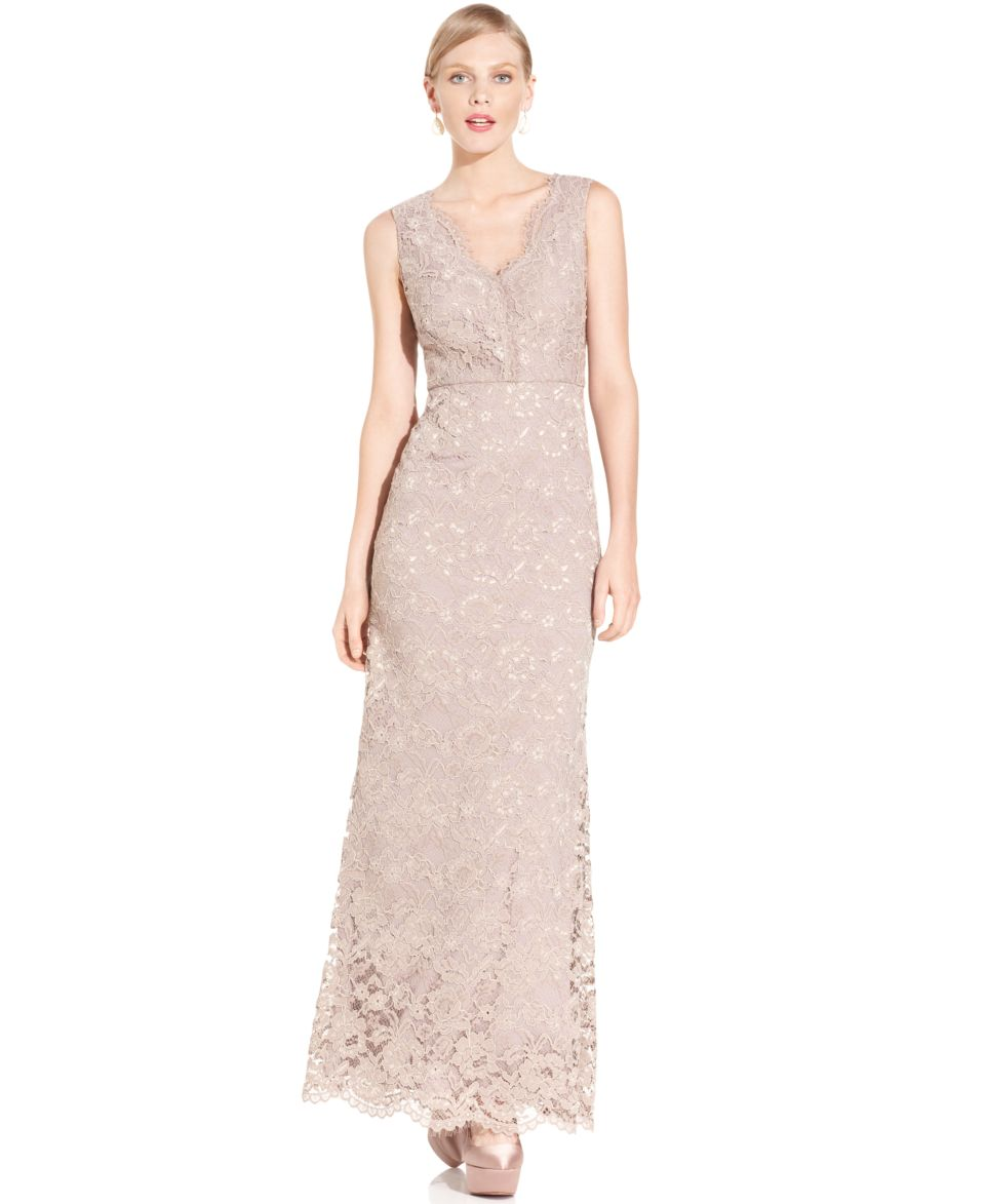 Adrianna Papell Dress, Sleeveless Lace Gown   Dresses   Women
