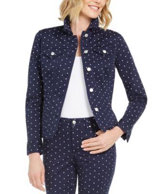 Polka-Dot Denim Jacket, Created for Macy's