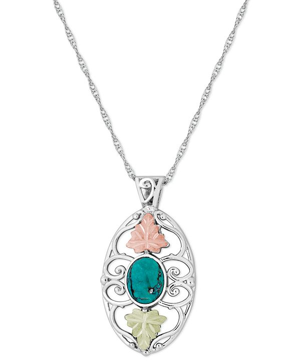"""Black Hills Gold Turquoise Pendant 18"""" Necklace in Sterling Silver with 12K Rose and Green Gold"""