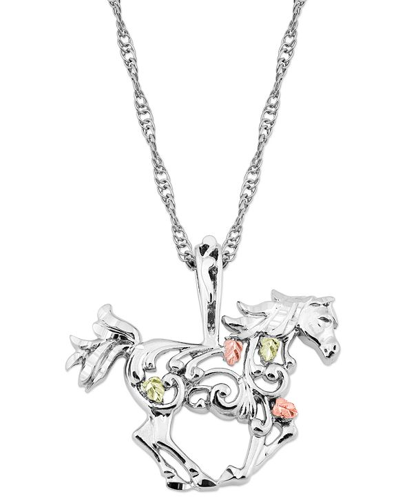 """Black Hills Gold Horse Pendant 18"""" Necklace in Sterling Silver with 12K Rose and Green Gold"""