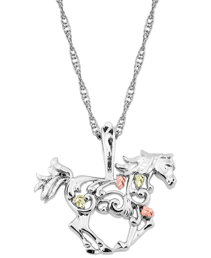 """Black Hills Gold - Horse Pendant 18"""" Necklace in Sterling Silver with 12K Rose and Green Gold"""