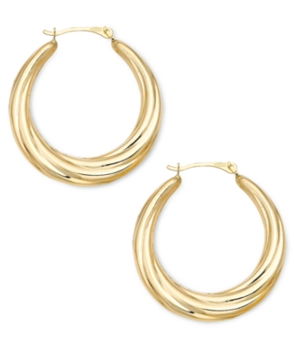 14k Gold Polished Swirl Hoop Earrings