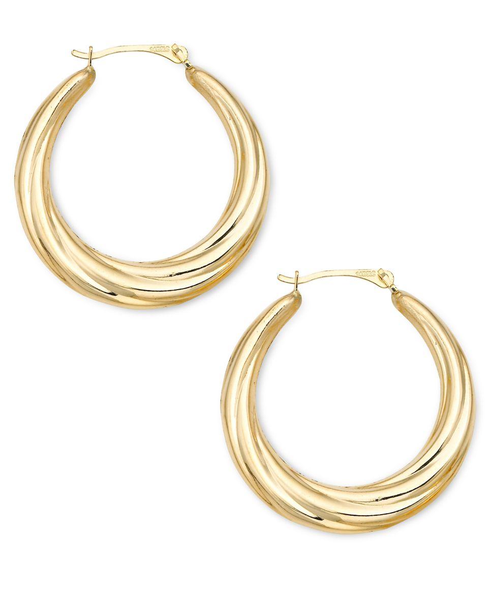 Signature Gold Diamond Accent Shrimp Hoop Earrings In 14k Gold