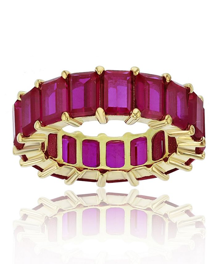 Macy's - Red Cubic Zirconia Eternity Band in 14k Yellow Gold Plated Plated Sterling Silver