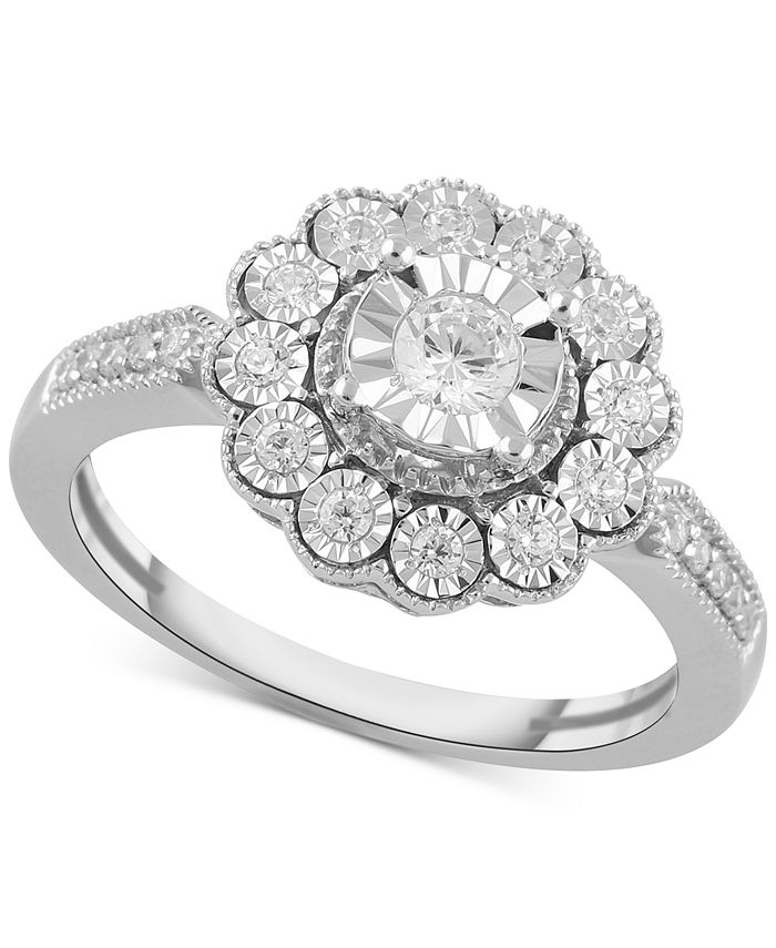 Macy's - Diamond Flower Statement Ring (1/3 ct. t.w.) in Sterling Silver