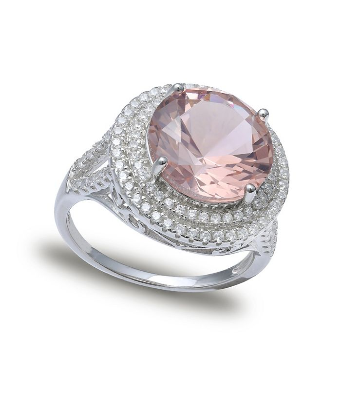 Macy's - Pink Cubic Zirconia Double Pave Row Ring (7-1/2 ct. t.w.) In Sterling Silver