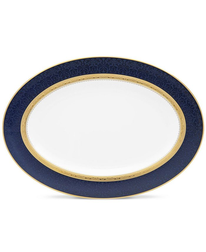 "Noritake - Odessa Cobalt Gold Oval Platter, 14"""