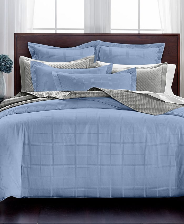 Charter Club - Windowpane Cotton 550-Thread Count 3-Pc. King Duvet Set