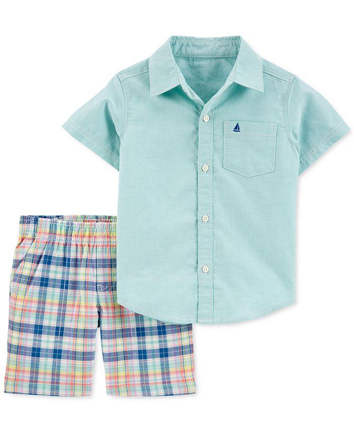 Carter's - Toddler Boys 2-Pc. Cotton Oxford Shirt & Plaid Shorts Set