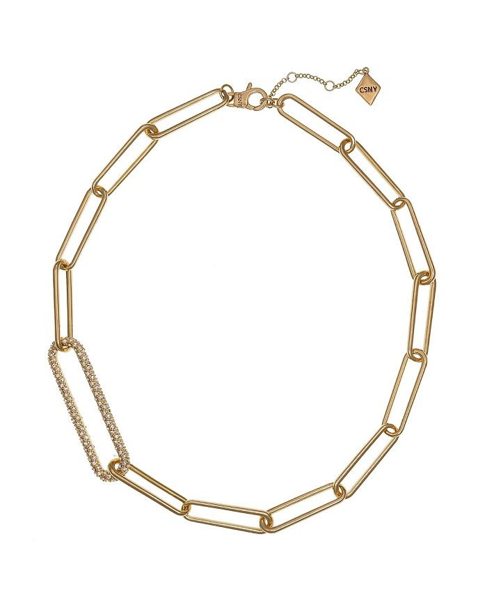 Christian Siriano New York - Gold Tone Long Link Short Necklace with Pave Stone Accents