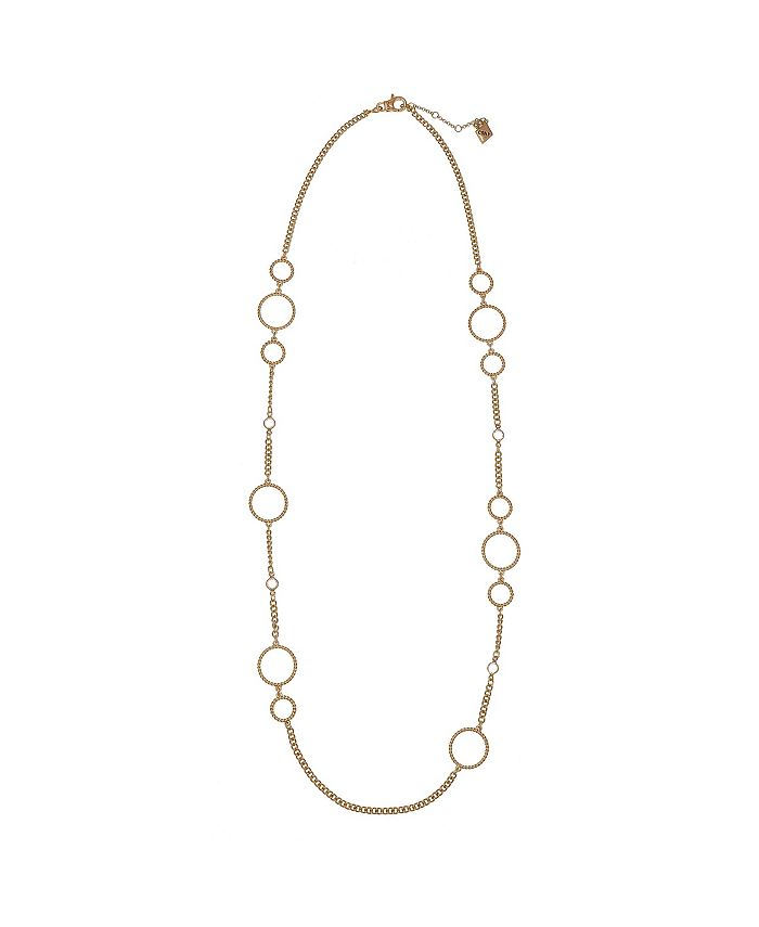 Christian Siriano New York - Gold Tone Necklace with Twisted Circle Links and Chanel Stone Accents