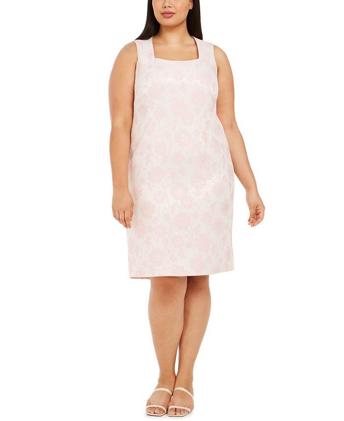 Kasper - Plus Size Floral Metallic Jacquard Dress