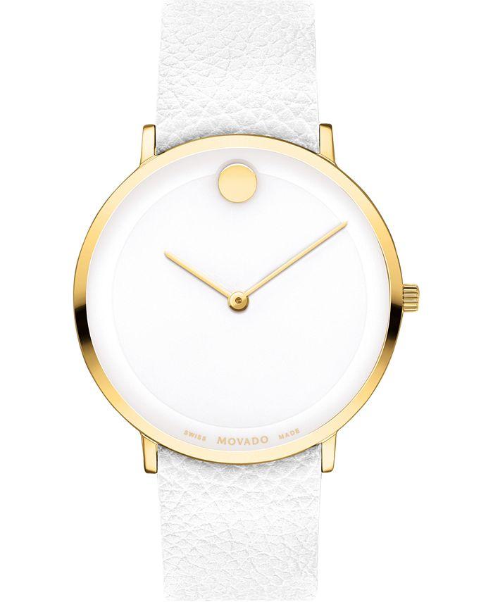 Movado - Women's Swiss Modern 47 White Leather Strap Watch 40mm