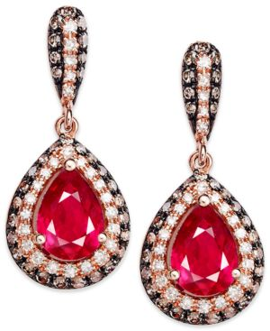 Red Velvet by Effy Ruby (1-3/4 ct. t.w.) Brown (1/8 ct. t.w.) and White Diamond (3/8 ct. t.w.) Earrings in 14k Rose Gold