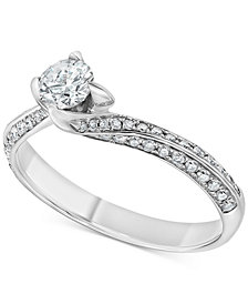 Diamond Swirl Solitaire Engagement Ring (5/8 ct. t.w.) in 14k White Gold