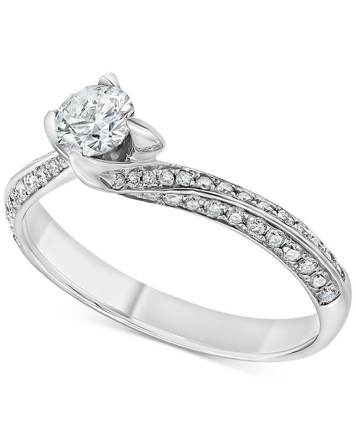 Macy's - Diamond Swirl Engagement Ring (5/8 ct. t.w.) in 14k White Gold