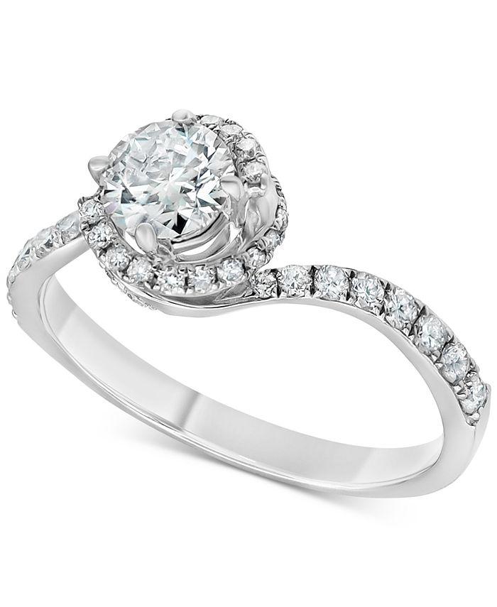 Macy's - Diamond Swirl Engagement Ring (1 ct. t.w.) in 14k White Gold