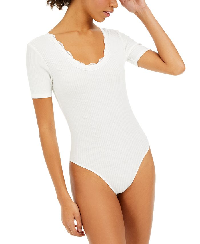 Hooked Up by IOT - Juniors' Lace-Trim Bodysuit