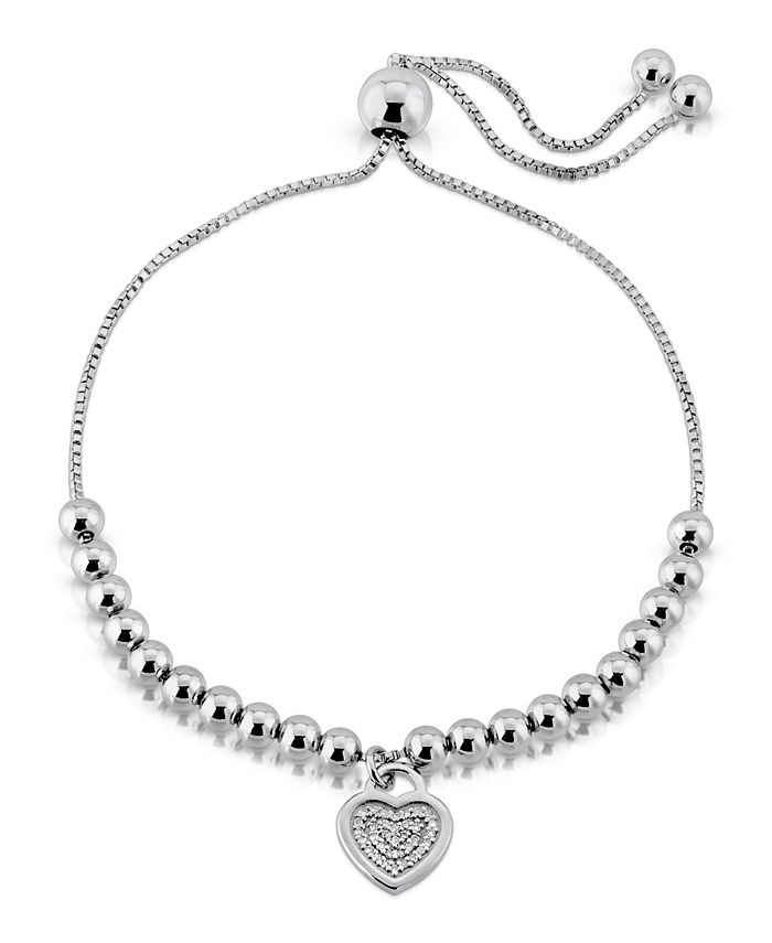 Macy's - Brilliant Bubbles Diamond (1/10 ct. t.w.) Heart Charm Bolo Bracelet Designed in Sterling Silver or 14k Yellow Gold over Sterling Silver