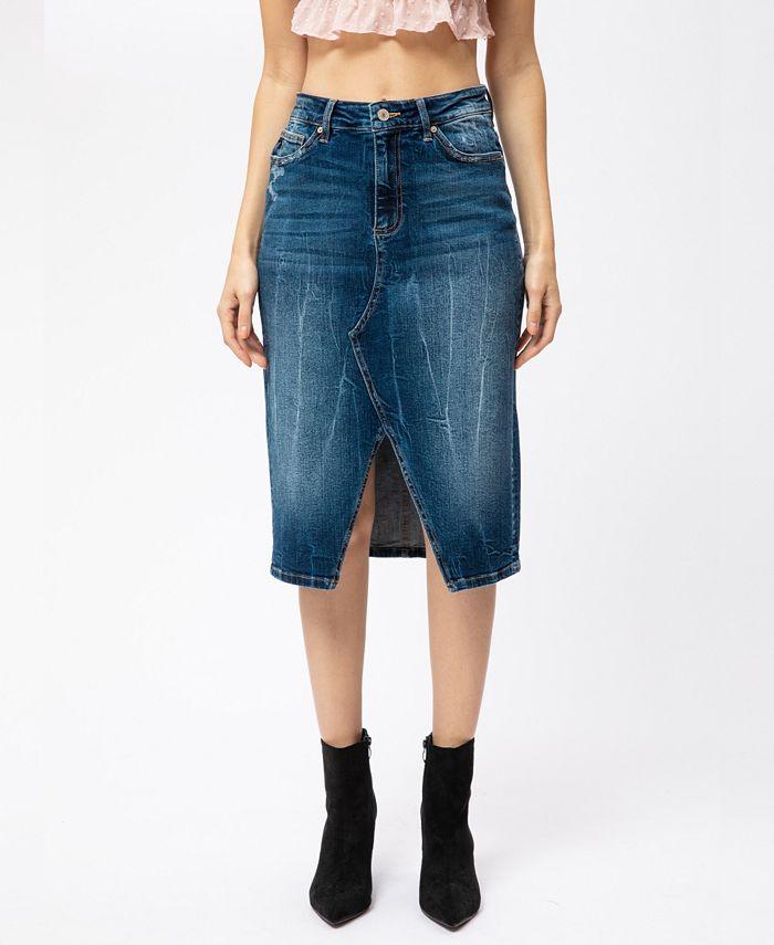 Kancan - High Rise Front Slit Midi Skirt