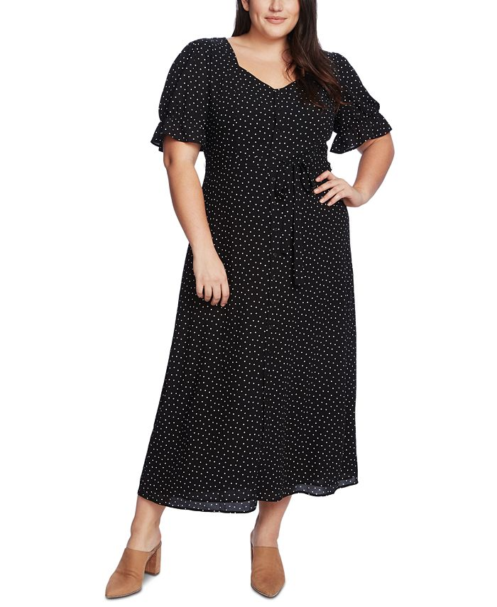 1.STATE - Trendy Plus Size Scatter Dot Puff-Sleeve Dress