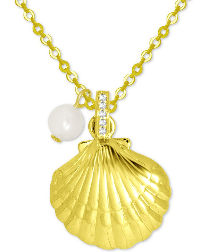 Kona Bay - Shell & Freshwater Pearl (6mm) Pendant Necklace in Gold-Plate