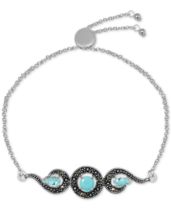 Macy's Genuine Swarovski Marcasite & Reconstituted Turquoise Adjustable Bracelet in Fine Silver-Plate & Reviews - Bracelets - Jewelry & Watches - Macy's
