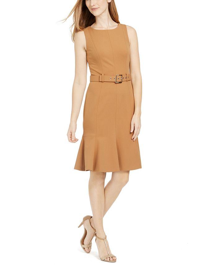 Calvin Klein - Petite Belted Flare-Hem Sheath Dress