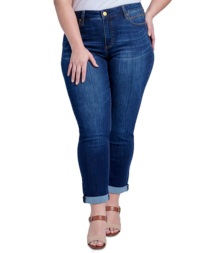 Seven7 Jeans - Trendy Plus Size Tummyless Rolled-Hem Embroidered Skinny Jeans