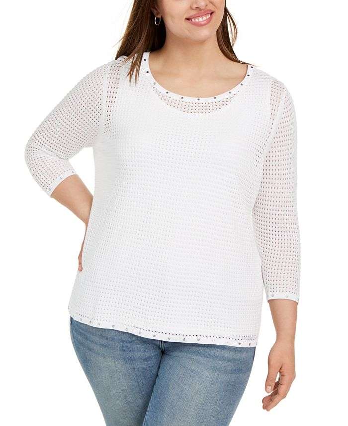 Belldini - Plus Size Embellished Mesh Top