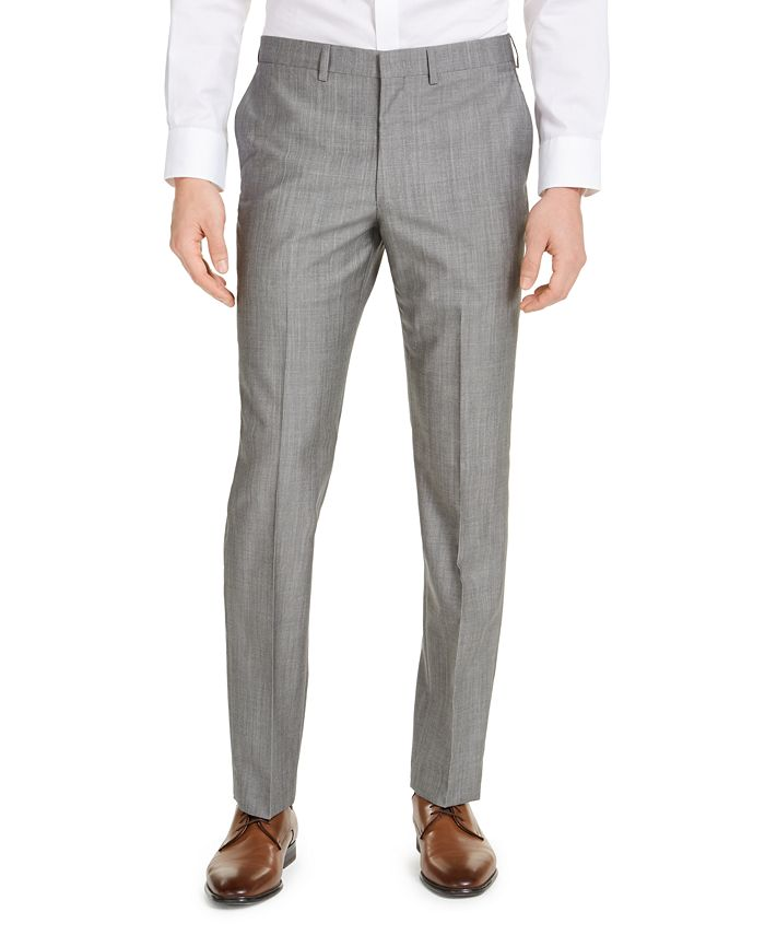 DKNY - Men's Slim-Fit Stretch Light Gray/Blue Suit Pants