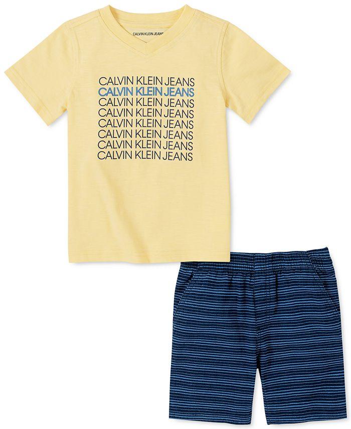 Calvin Klein - Toddler Boys 2-Pc. Logo V-Neck T-Shirt & Yarn-Dyed Stripe Jacquard Shorts Set