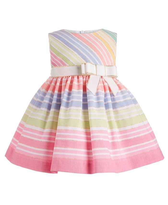 Bonnie Baby - Baby Girls Rainbow Striped Dress